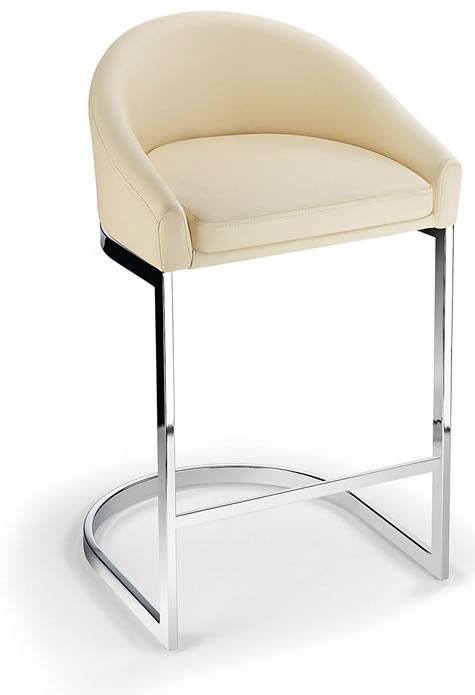 Ikany Fixed Height Breakfast Chrome Bar Stool With Cream Padded Seat