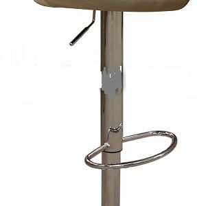 Star Kitchen Breakfast Bar Stool Padded Cream Seat Height Adjustable Chrome Frame Back Rest