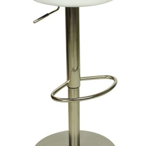 Envy Deluxe Brushed Chrome White Kitchen Swivel Bar Stool No Back Height Adjustable Weighted Base