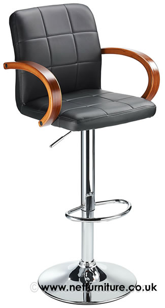 Arla Adjustable Bar Stool With Padded Seat And Walnut Armrests