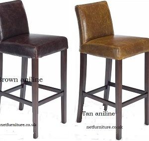 Rose Aniline Leather Wooden Kitchen Breakfast Bar Stool Padded Seat Fully Assembled