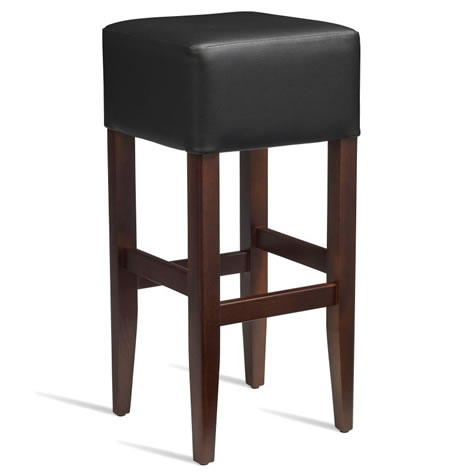 Emerald Kitchen Bar Stool - Dark Walnut Frame With Padded Seat - Fully Assembled