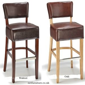 Nevo Kitchen Breakfast Bar Stool Wooden Frame Bonded Or Aniline Leather Seat - Fully Assembled.