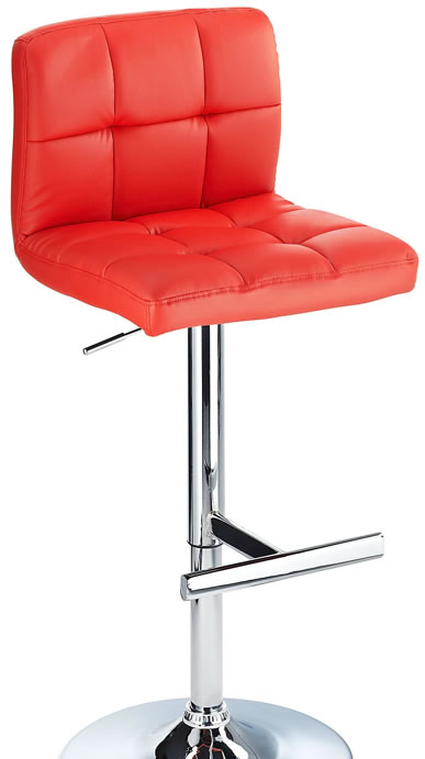 Grand Bar Stool With Padded Stylish Seat Height Adjustable - Red