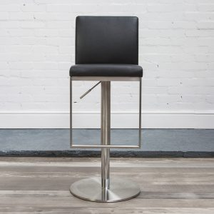 Cadoc Adjustable Brushed Steel Kitchen Bar Stool - Variety Of Colours