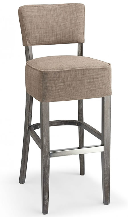 Gosost Fabric And Wood Kitchen Bar Stool Brown