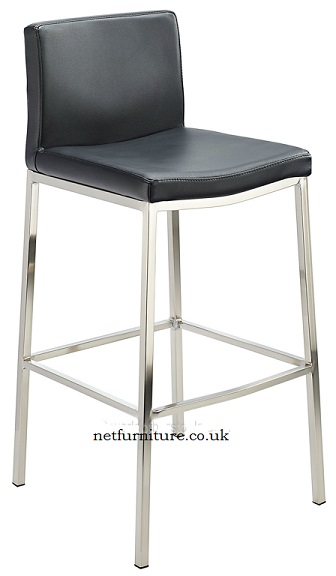 Banff Fixed Height Bar Stool With Brushed Steel Frame Brown