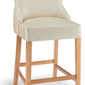 Vandora Cream Kitchen Breakfast Bar Stool Padded Seat Oak Wood Stylish