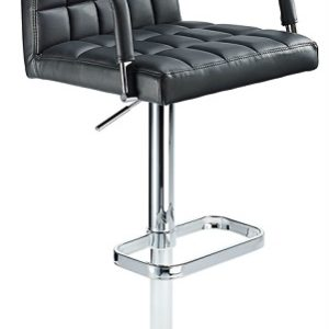 Chichi Retro Bar Stool Height Adjustable Real Or Faux Leather Chrome Or Brushed Stainless Steel Frame With Arms
