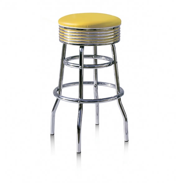Lorton Yellow Retro Quality Bar Stool Swivel Padded Seat Various Colours Pre Assembled