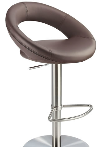 Sorano Real Leather Bar Stool Brown Seat Brushed Stainless Steel Frame
