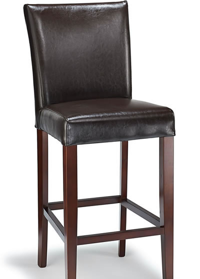Deule Kitchen Bar Wooden Stool Brown Bonded Leather Seat
