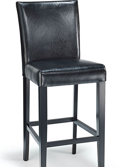 Deule Kitchen Bar Wooden Stool Black Bonded Leather Seat