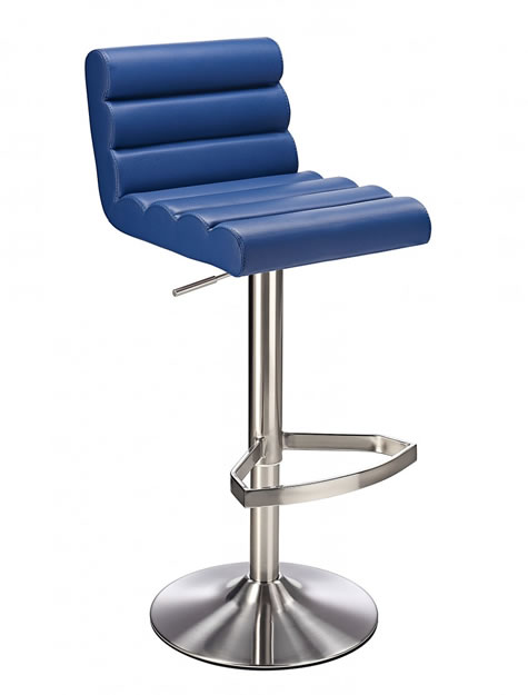 Manitor Brushed Steel Swivel Bar Stool With Faux Leather Padded Seat 6 Colour Option Ribbed Seat