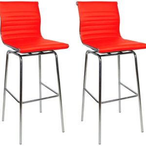 Pair Ravinda Chrome And Padded Kitchen Breakfast Bar Stools Fixed Height Various Colours 4 Leg Frame