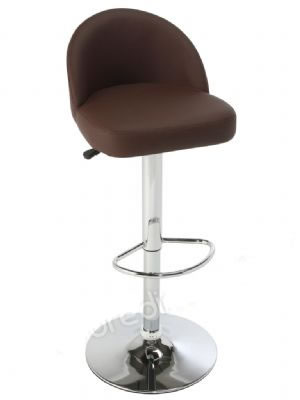 Lombardo Real Leather Kitchen Bar Stool Brushed Frame Height Adjustable