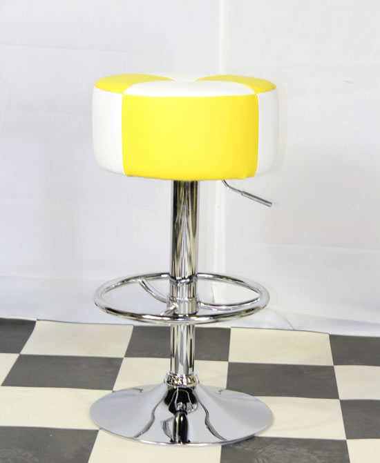 Morani American Diner Retro Style Kitchen Bar Stool Yellow And White Padded Seat