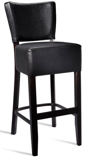 Dorit Solid Beech Barstool With Padded Faux Leather Fully Assembled