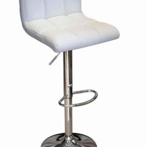 Reef White Kitchen Breakfast Bar Stool - White Padded Seat Height Adjustable