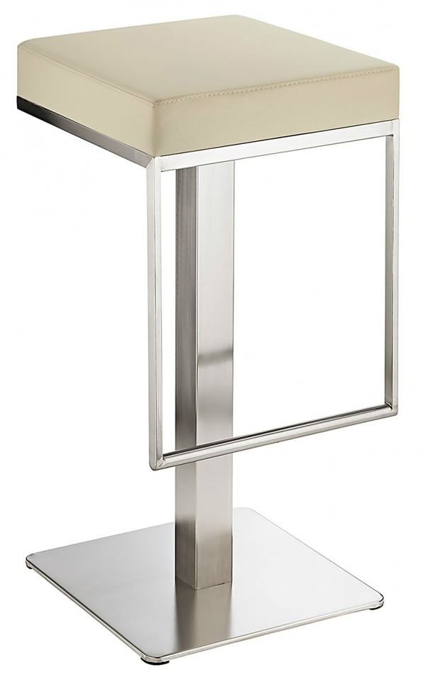 Noros Kitchen Brushed Bar Stool Cream Seat No Back Fixed Height