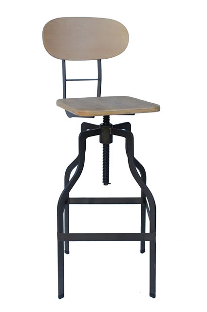 Epic Kitchen Bar Stool Retro Vintage Industrial Stool Natural Wood Seat Height Adjustable Seat