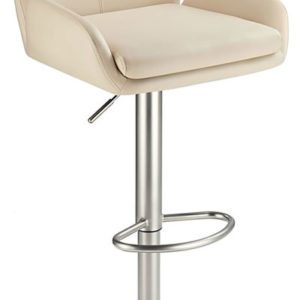 Oroni Brushed Steel Swivel Bar Stool With Faux Leather Padded Seat 2 Colour Option Padded Back