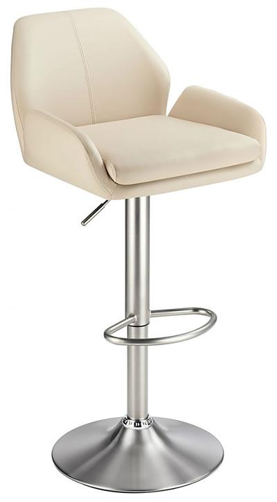 Oroni Brushed Steel Swivel Bar Stool With Faux Leather Padded Seat 2 Colour Option Padded Back