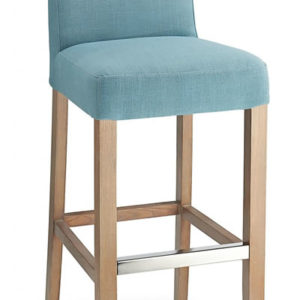 Modosi Teal Pvc Seat Bar Stool Wooden Frame Fully Assembled
