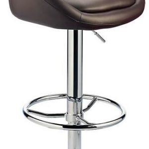 Lombardy Kitchen Bar Stool -Brown Padded Seat Adjustable Height Frame