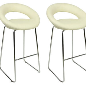 Pair Seronsonay Chrome And Padded Kitchen Breakfast Bar Stools Fixed Height Various Colours