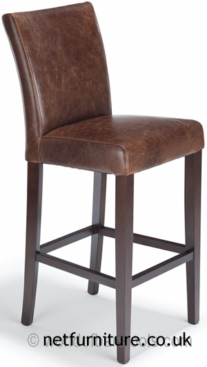 Charro Brown Bonded Real Leather Hardwood Frame Padded Bar Stool Fully Assembled