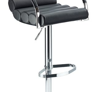 Tria Breakfast Bar Stool Adjustable Height Black Faux Leather Padded Seat