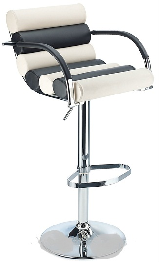 Exeter Bar Stool Adjustable Height Cream Leather Padded Seat