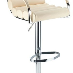 Tria Bar Stool Adjustable Height Cream Faux Leather Padded Seat
