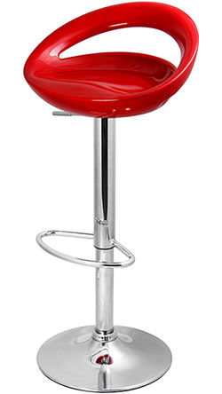 Retro Moon Bar Stool In Metallic Dark Red