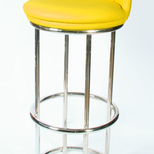 Sabon Quality Retro Yellow Kitchen Breakfast Bar Stool Chrome With Footrest And Backrest Fully Assembled