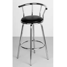 Shiny Chrome Bar Stool With Padded Seat