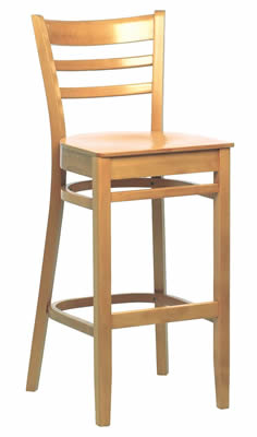 Linker Beech Natural Slatted Wooden High Back Bar Stool Fully Assembled