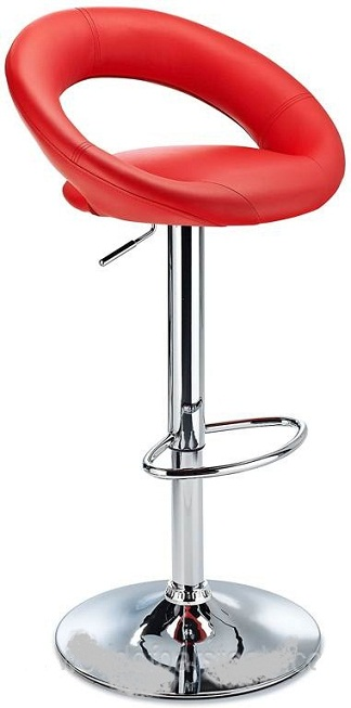 Serene Red Padded Kitchen Breakfast Bar Stool Height Adjustable
