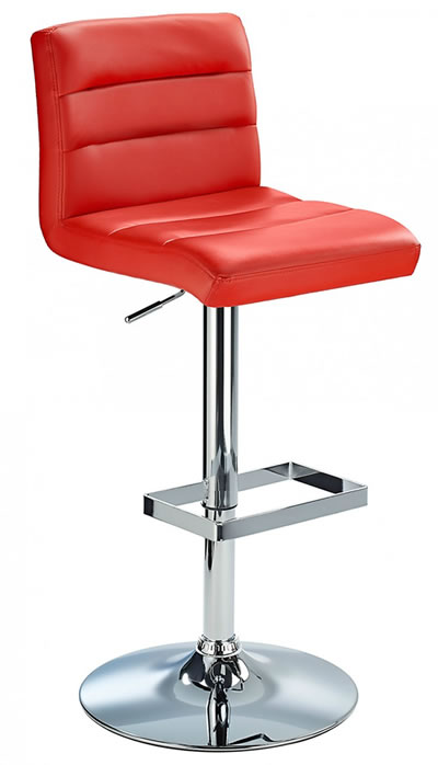 Carlson Height Adjustable Bar Stool With Ribbed Faux Leather Padded Seat And Chrome Base