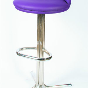Tasuk Quality Retro Purple Kitchen Breakfast Bar Stool Chrome With Footrest And Backrest Fully Assembled