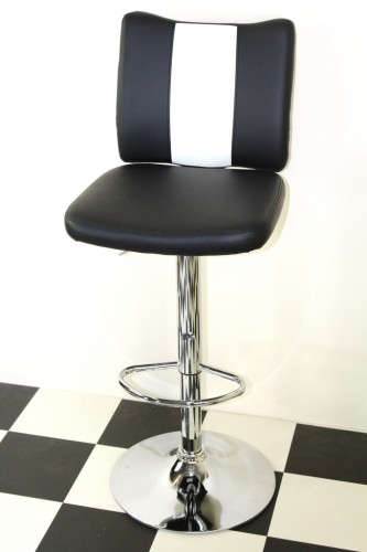 Bostony Retro Style Bar Stool American Diner Style Black Padded Seat Height Adjustable