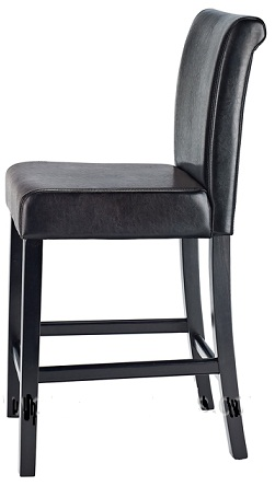 Sienna Walnut Frame Kitchen Bar Stool Black Padded Seat And Back