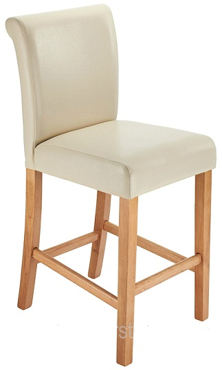 Sienna Oak Frame Kitchen Bar Stool Cream Padded Seat And Back
