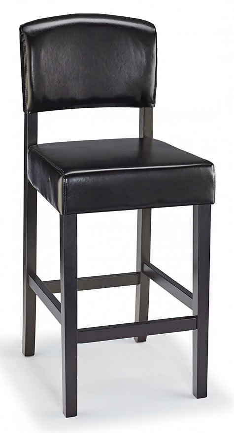Lepson Kitchen Bar Stool Black Bonded Leather And Walnut Wood Frame