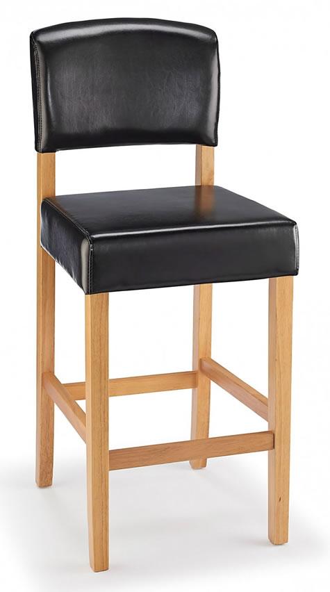 Sensational Lepson Kitchen Bar Stool Black Bonded Leather And Oak Wood Frame Ibusinesslaw Wood Chair Design Ideas Ibusinesslaworg