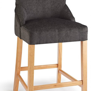 Vandora Oak Wood And Padded Fabric Kitchen Bar Stool Charcoal