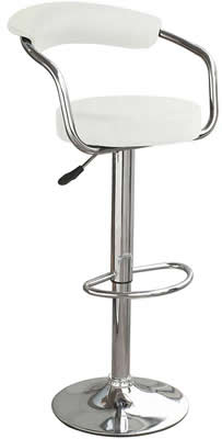 Drenzy Padded White Kitchen Bar Stool Swivel With Arms Height Adjustable