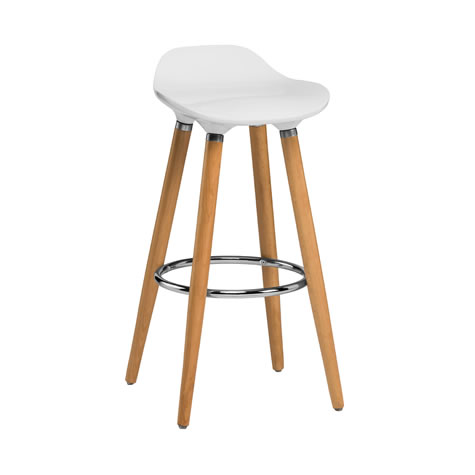 Moreno White Modern Kitchen Bar Stool Height Fixed Height Beech Legs