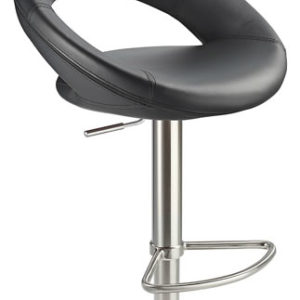 Sorano Real Leather Bar Stool Black Seat Brushed Stainless Steel Frame
